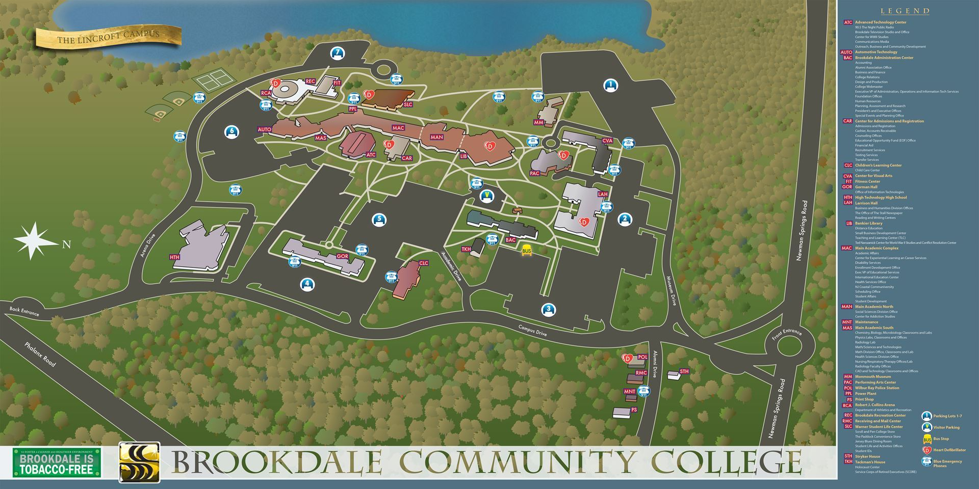 Map of Brookdale Community College